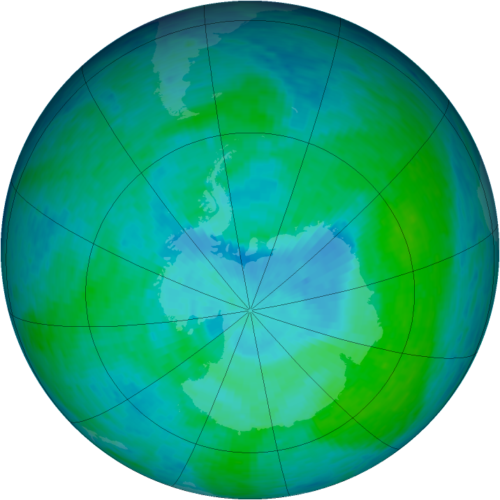 Antarctic ozone map for 25 December 1993