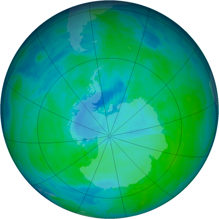 Antarctic ozone map for 29 December 1993