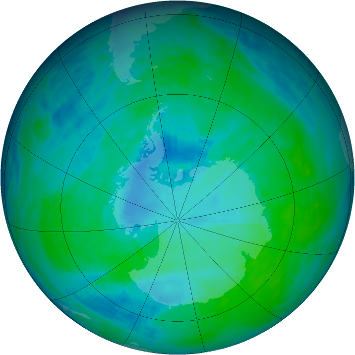 Antarctic ozone map for 30 December 1993