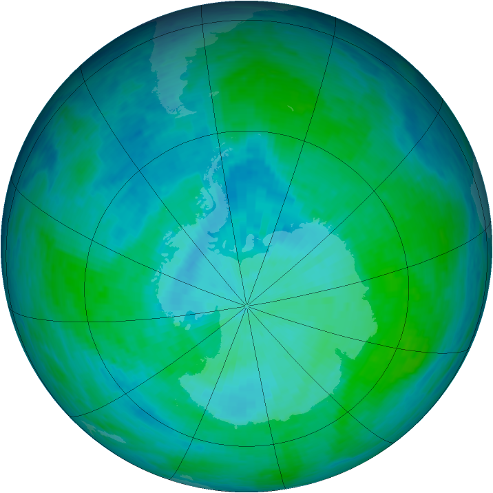 Antarctic ozone map for 01 January 1994