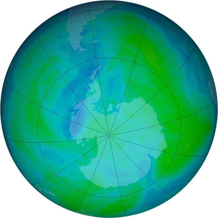 Antarctic ozone map for 04 January 1994