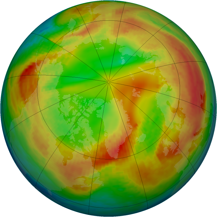 Arctic ozone map for 14 February 1994