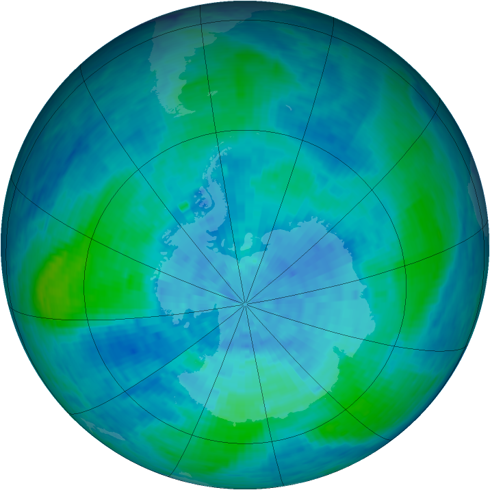 Antarctic ozone map for 17 February 1994