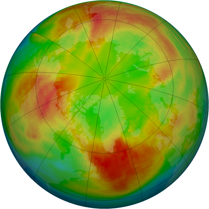 Arctic ozone map for 19 February 1994