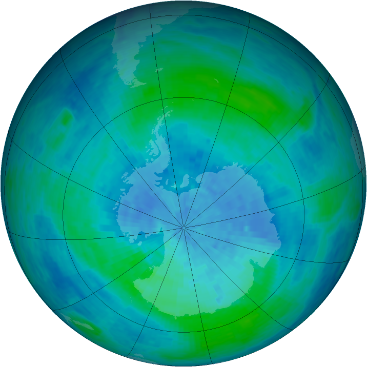 Antarctic ozone map for 21 February 1994