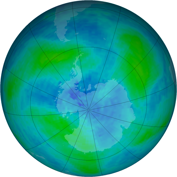 Antarctic ozone map for 26 February 1994