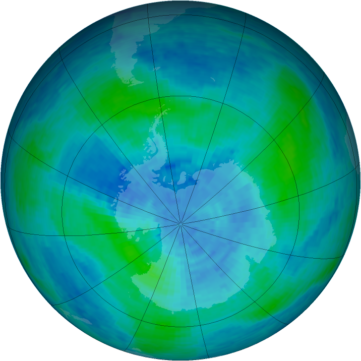 Antarctic ozone map for 27 February 1994