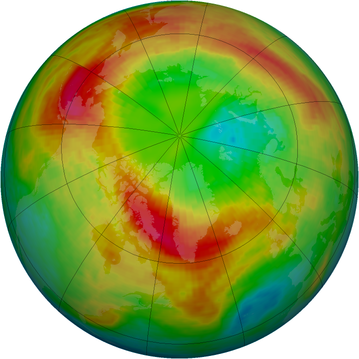 Arctic ozone map for 03 March 1994