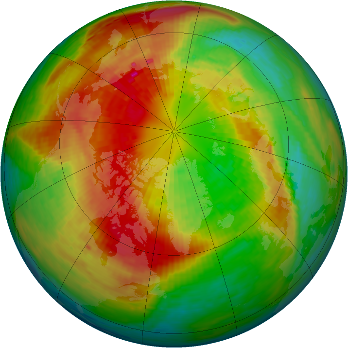 Arctic ozone map for 12 March 1994