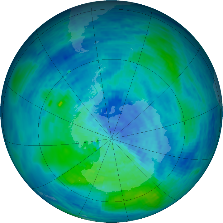 Antarctic ozone map for 13 March 1994