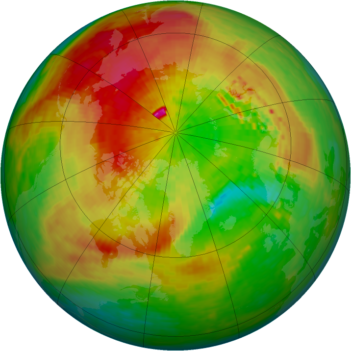 Arctic ozone map for 28 March 1994