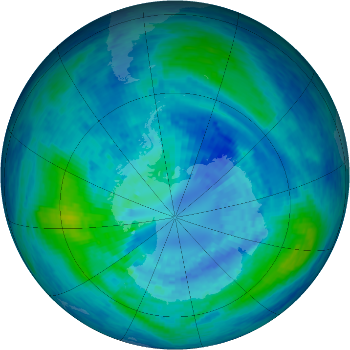 Antarctic ozone map for 31 March 1994