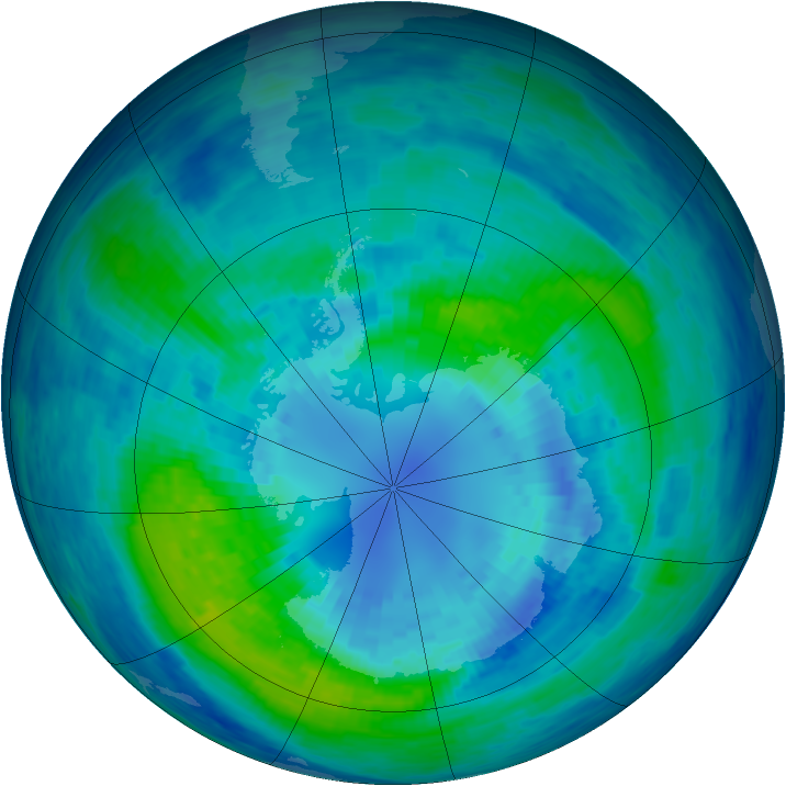 Antarctic ozone map for 05 April 1994