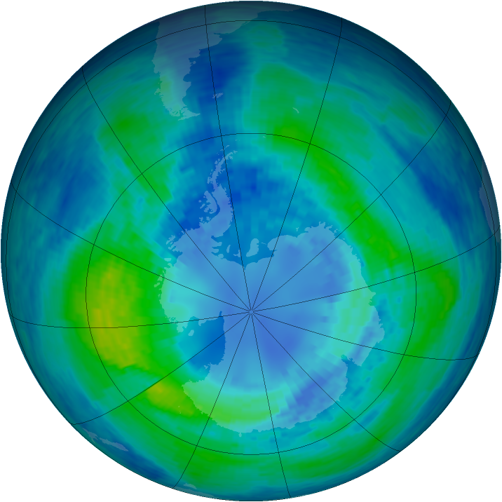 Antarctic ozone map for 07 April 1994