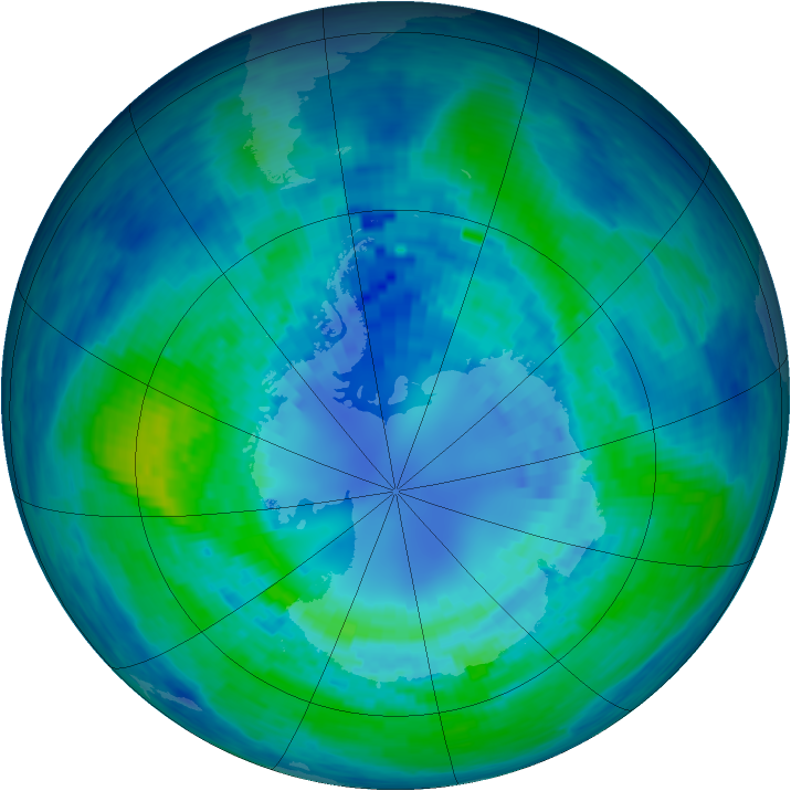Antarctic ozone map for 08 April 1994