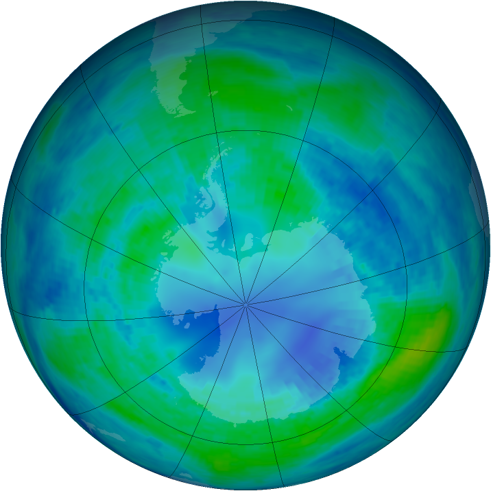 Antarctic ozone map for 17 April 1994