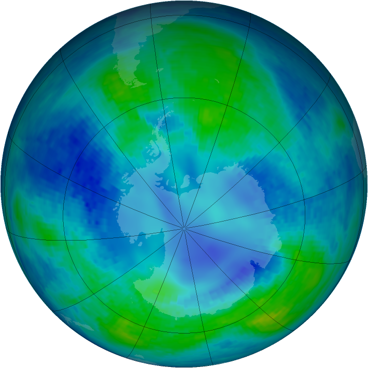 Antarctic ozone map for 19 April 1994