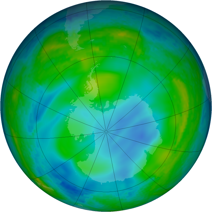 Antarctic ozone map for 04 June 1994