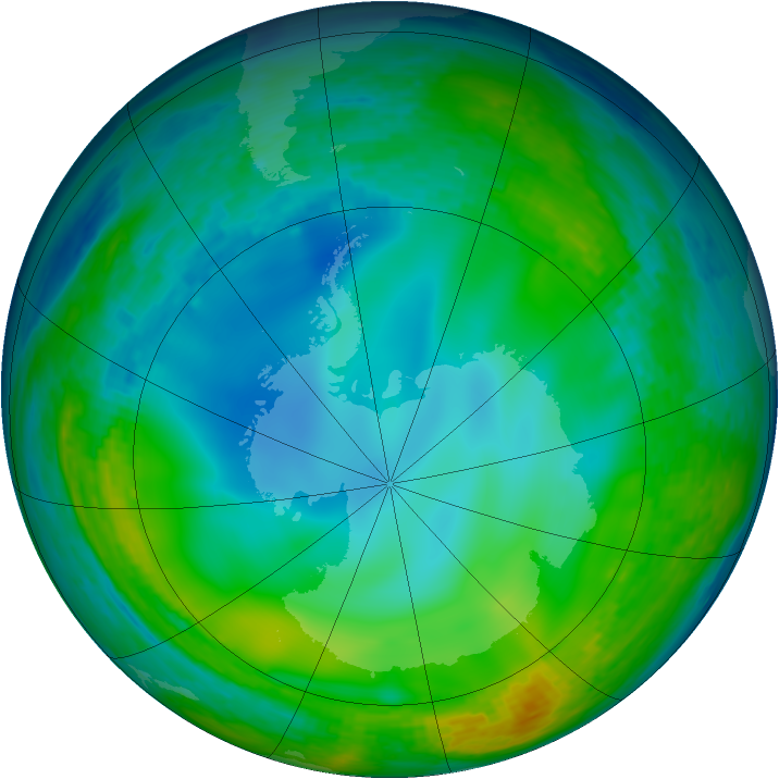 Antarctic ozone map for 10 June 1994