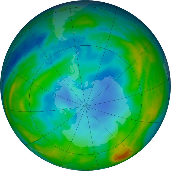 Antarctic ozone map for 19 June 1994