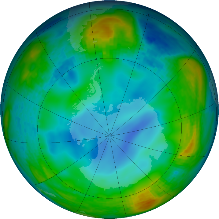 Antarctic ozone map for 26 June 1994