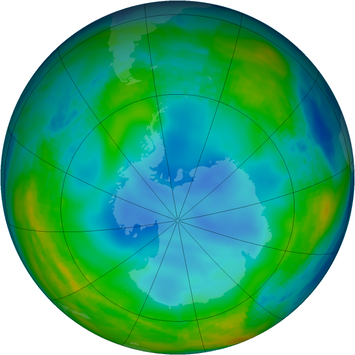 Antarctic ozone map for 30 June 1994