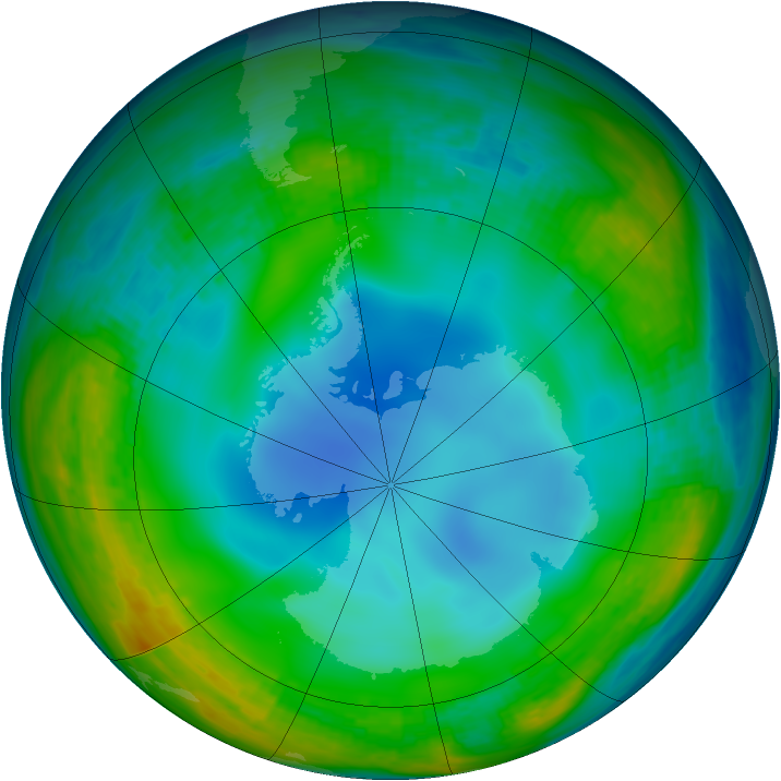 Antarctic ozone map for 01 July 1994