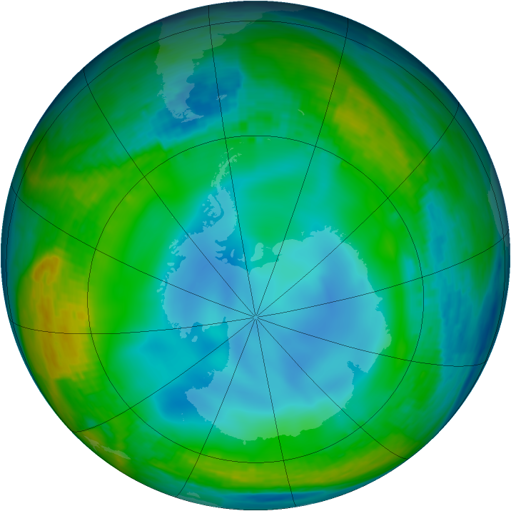 Antarctic ozone map for 04 July 1994