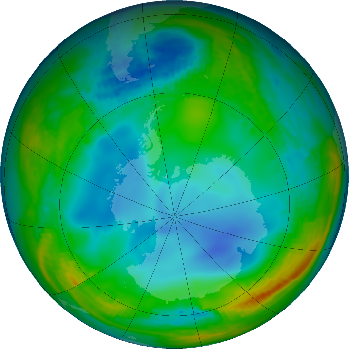 Antarctic ozone map for 10 July 1994