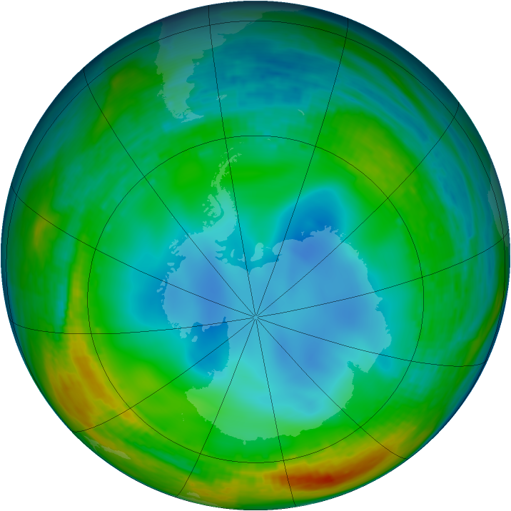 Antarctic ozone map for 12 July 1994