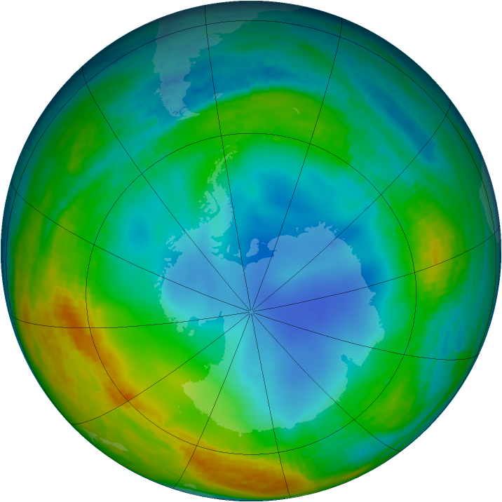 Antarctic ozone map for 14 July 1994