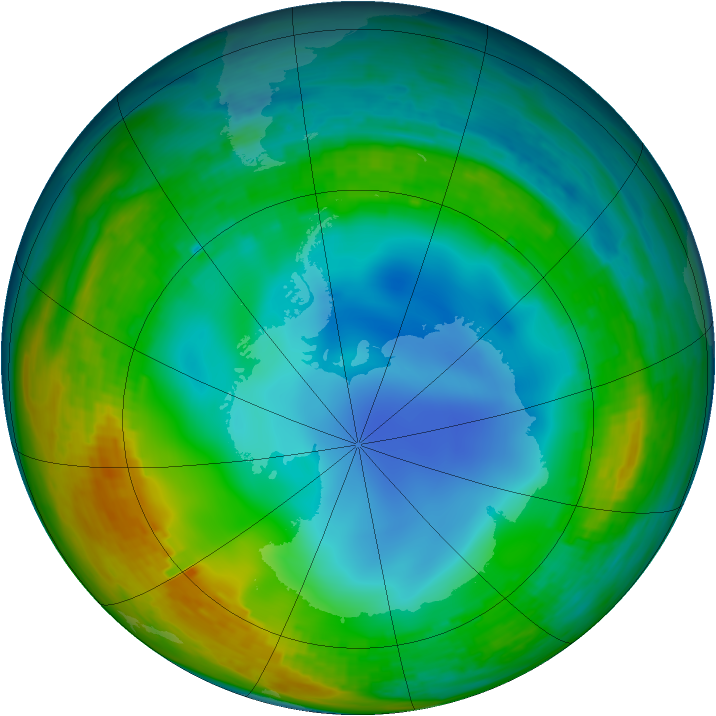Antarctic ozone map for 15 July 1994