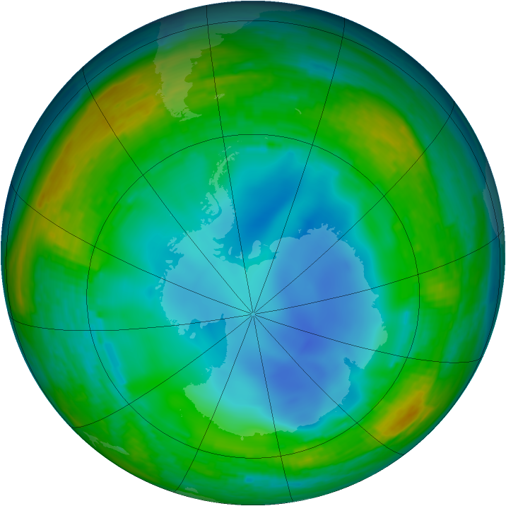 Antarctic ozone map for 19 July 1994