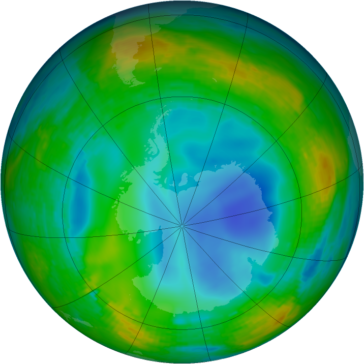 Antarctic ozone map for 21 July 1994
