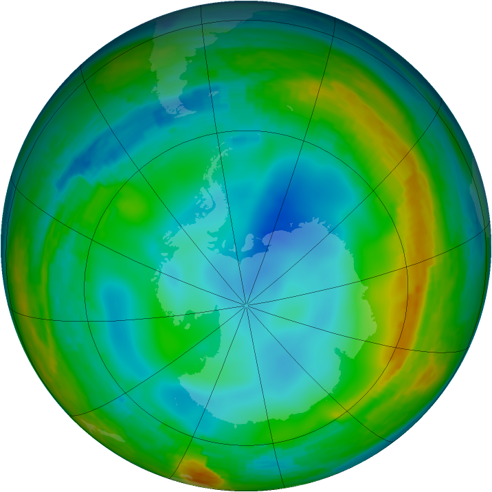 Antarctic ozone map for 30 July 1994