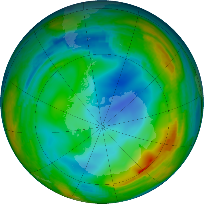 Antarctic ozone map for 31 July 1994