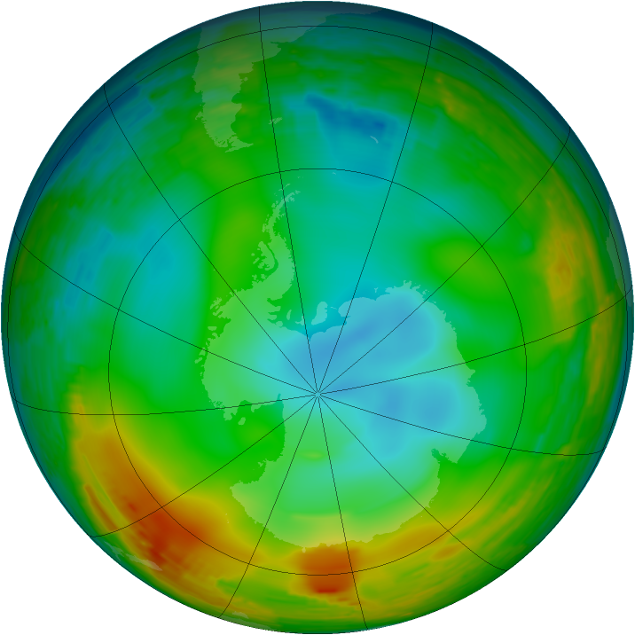 Antarctic ozone map for 09 August 1994