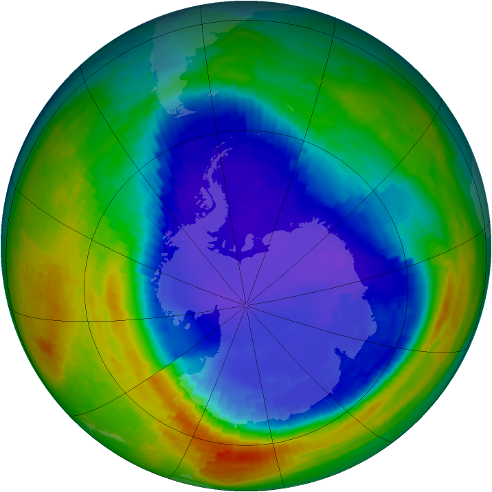 Antarctic ozone map for 15 September 1994