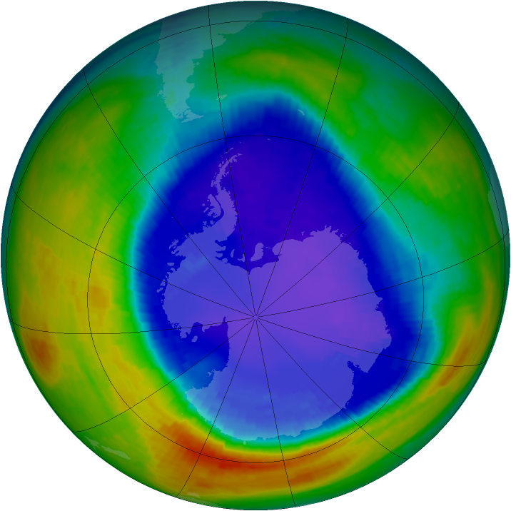 Antarctic ozone map for 16 September 1994