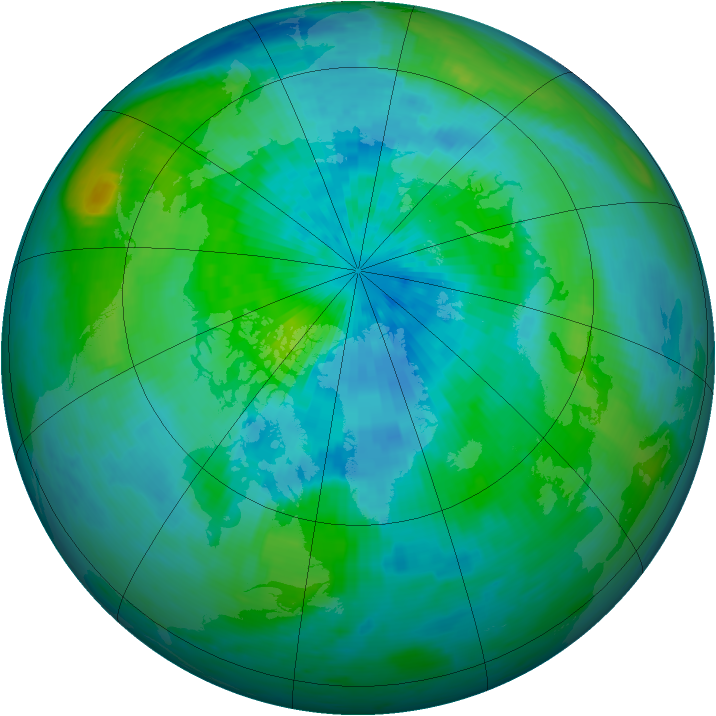 Arctic ozone map for 19 September 1994