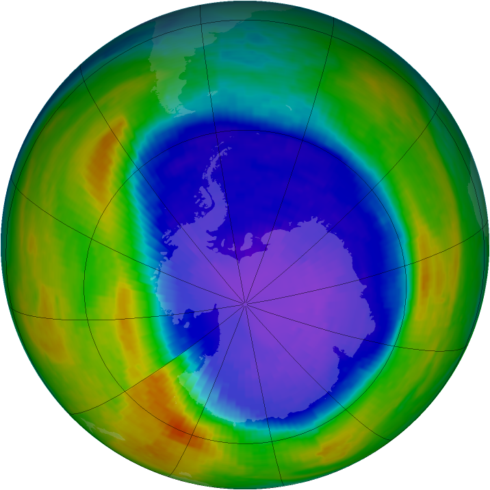 Antarctic ozone map for 20 September 1994