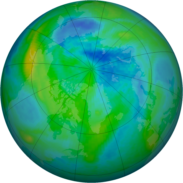 Arctic ozone map for 22 September 1994