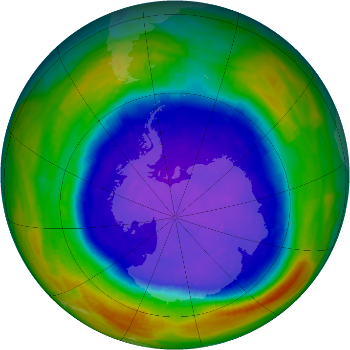 Antarctic ozone map for 24 September 1994