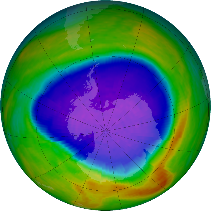 Antarctic ozone map for 07 October 1994