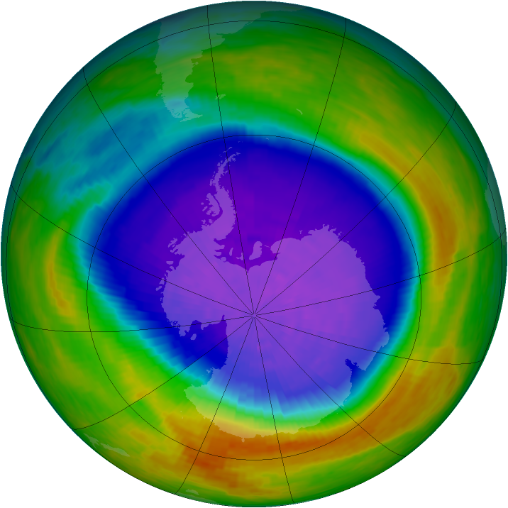 Antarctic ozone map for 09 October 1994