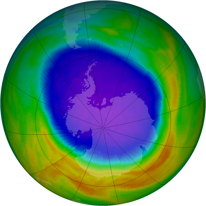 Antarctic ozone map for 14 October 1994