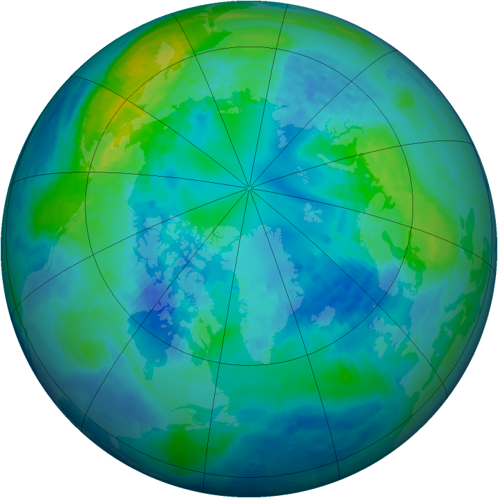 Arctic ozone map for 18 October 1994