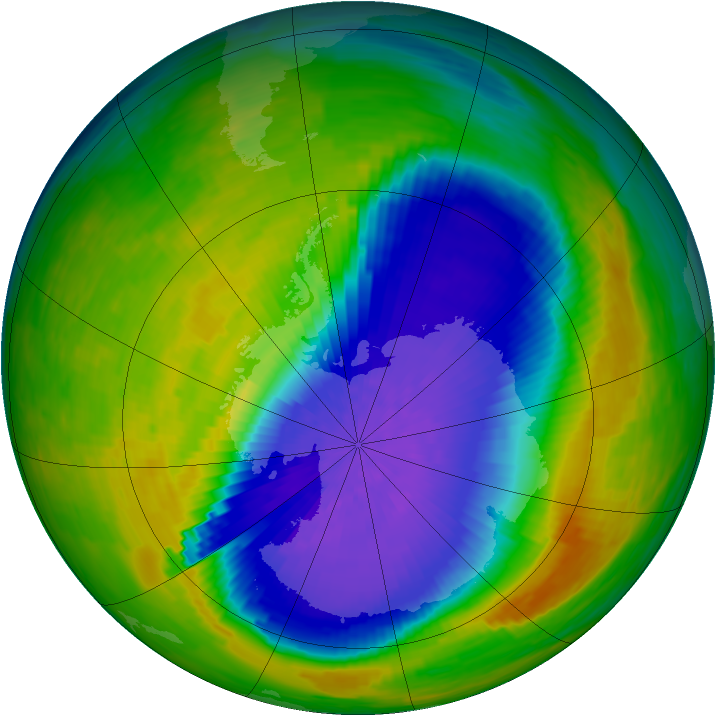 Antarctic ozone map for 23 October 1994