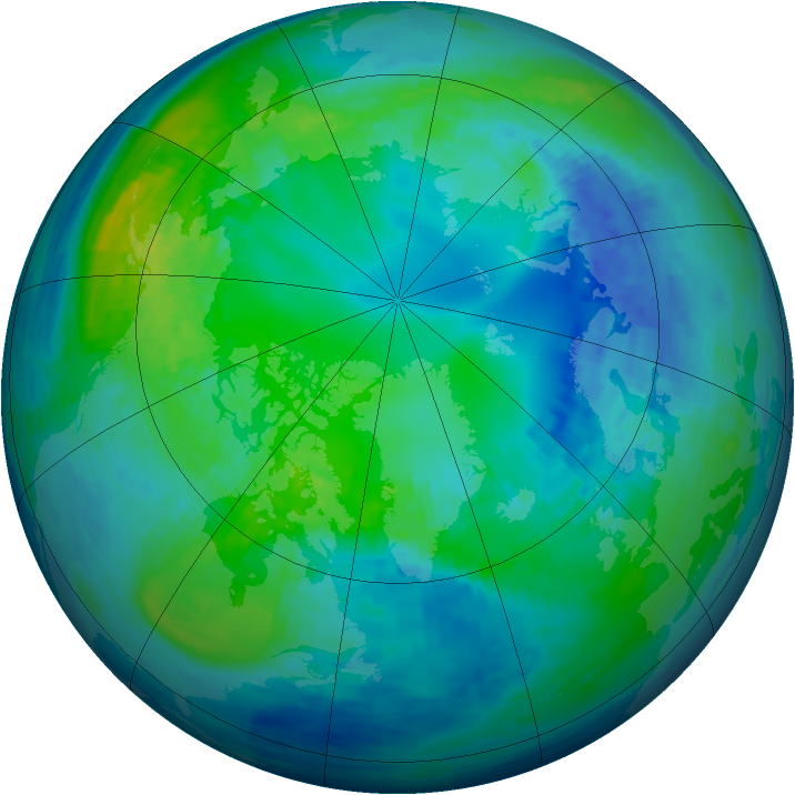 Arctic ozone map for 25 October 1994