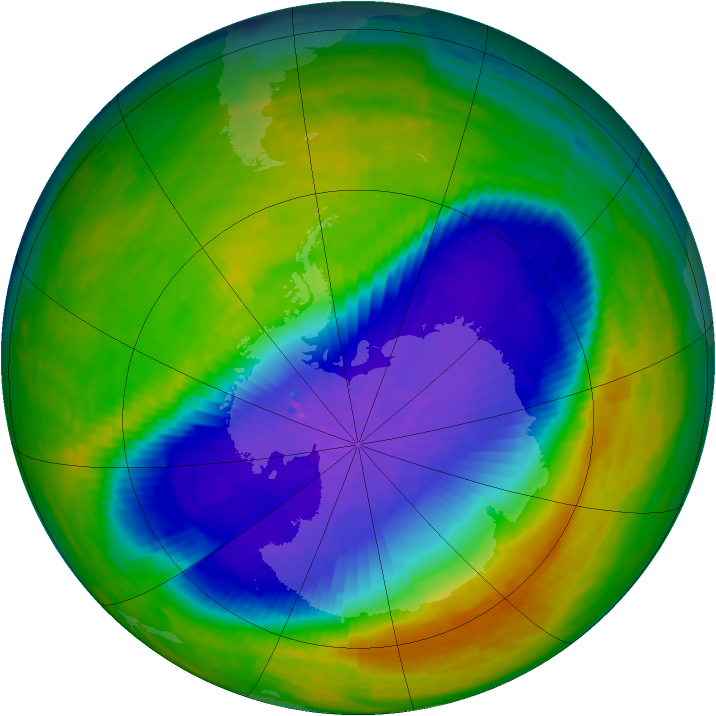 Antarctic ozone map for 25 October 1994